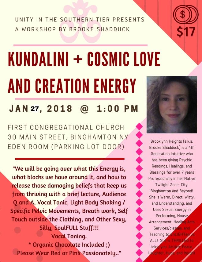 Unity Workshop - Brooke Shadduck - Kundalini and Cosmic Love and Creation Energy Rescheduled